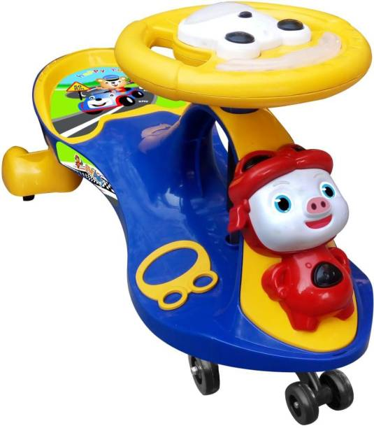 sunbaby FUNTIME Twister Magic Swing Smart Car Ride ons for Kids/ Child, 3-8 Years Boys Girls, fun ride Car Toy, Cartoon Face W/ Music & Light, Free Wheels, Push car Gadi, Strong Body w/ Large Rear Seat Car Non Battery Operated Ride On