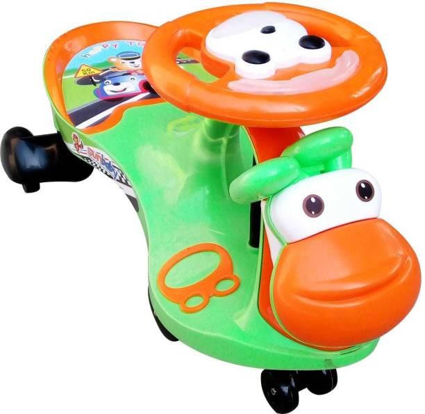 sunbaby FUNTIME Twister Magic Swing Smart Car Ride ons for Kids/ Child, 3-8 Years Boys Girls, fun ride Toy, Cartoon Face W/ Music & Light, Free Wheels, Push car Gadi, Strong Body w/ Large Rear Seat Car Non Battery Operated Ride On