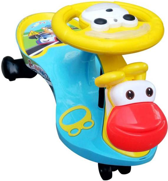 sunbaby FUNTIME Twister Magic Swing Smart Car Ride ons for Kids, 3-8 Years Boys Girls, fun ride Toy, Cartoon Face W/ Music & Light, Free Wheels, Push car Gadi, Strong Body w/ Large Rear Seat Car Non Battery Operated Ride On