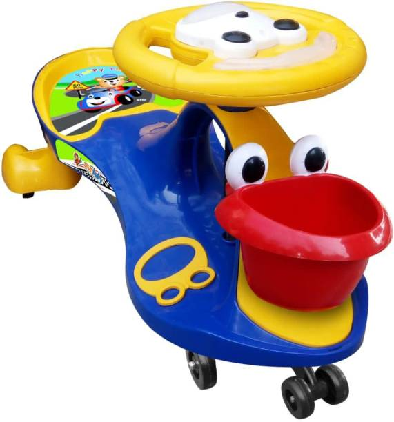 sunbaby FUNTIME Twister Magic Swing Smart Car Ride ons for Kids/ Child, 3-8 Years Boys Girls, fun ride-on Toy, Cartoon Face W/ Music & Light, Free Wheels, Push car Gadi, Strong Body w/ Large Rear Seat Car Non Battery Operated Ride On