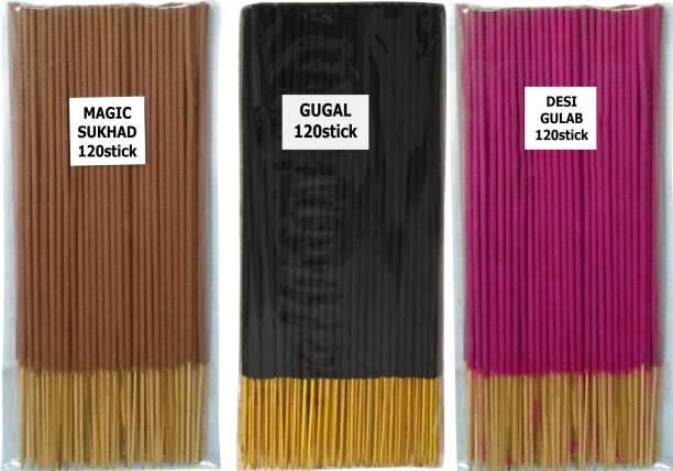 VEDIC FLOW 360 premium quality agarbatti stick ( MAGIC SUKHAD , GUGAL , DESI GULAB ) MAGIC SUKHAD, GUGAL, DESI GULAB