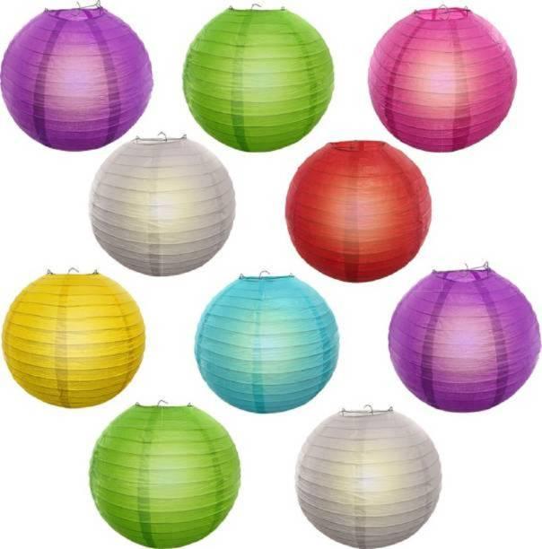 Yutiriti 10 Pc Round Hanging Ball Paper Lantern Multicolor Paper Hanging Lantern