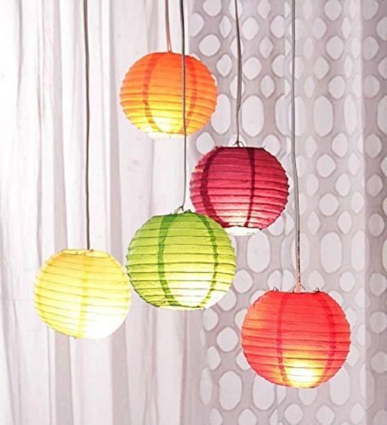Yutiriti 5 Pc Round Hanging Ball Paper Lantern Multicolor Paper Hanging Lantern