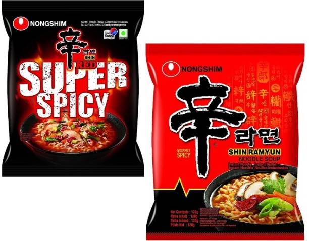Nongshim Red Super Spicy & Kimchi Korean Style Instant Noodles (2X120g) ( Combo Pack) (Pack Of 2) Instant Noodles Non-vegetarian