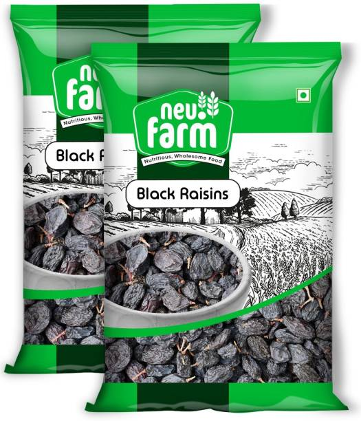 Neu.Farm Raisins/kishmish - Black, Seedless - 100% Natural - Premium - Pack Of 2 Raisins