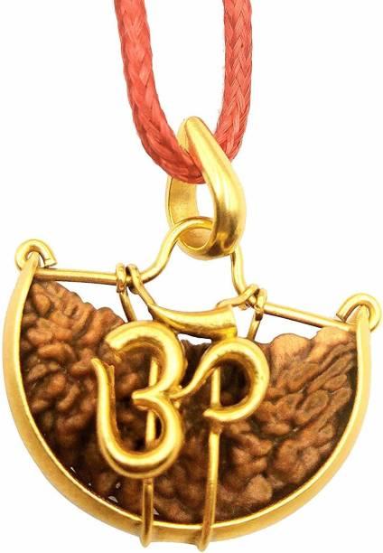 Namisha One Face Rudraksha Ek Mukhi Rudraksha Natural Lab Certified OM Shape 100% Original Brown Size Standard Gold-plated Wood Pendant
