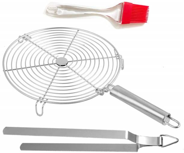 NEW TREND Stainless Steel Circle Roaster Papad Jali with Wooden Handle for Pizza Chapati Barbecue Grill Jali 0.499 kg Roaster