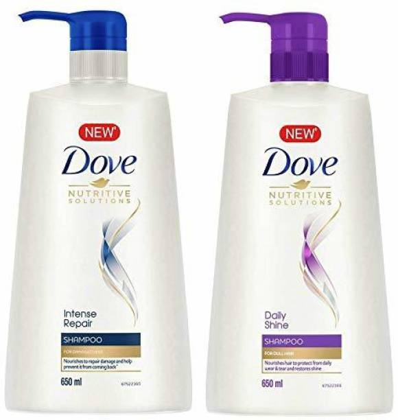 DOVE Crizer Daily Shine Shampoo, 650ml And Intense Repair For Damaged Hair, Makes Hair Smooth And Strong Shampoo, 650ml