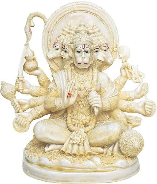 Tailos Hindu Religious Five faces of Lord Bajrangbali Panchmukhi Hanuman ji (Narasimha, Garuda, Horse, Vanara and Varaha) God Ram Bhakt Anjani Sut, Son of Air, vayu putra rameshtha, Rudravatar, Lakshmana the giver of life, Om Sri Hanumante Namah, Om Vayuputraya Namah, Anjaneya, Slayer of Ahiravan Decorative Showpiece  -  24 cm