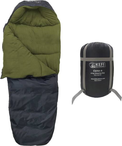 Kefi Outdoors Black Medium DWR Fleece Lined for Travel & Camping Sleeping Bag, -5 to -10 C,1.9kg Sleeping Bag