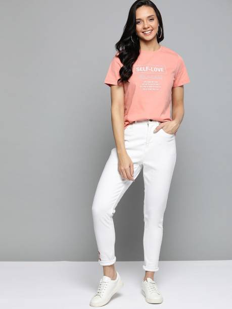 MAST & HARBOUR Printed Women Round Neck Pink T-Shirt