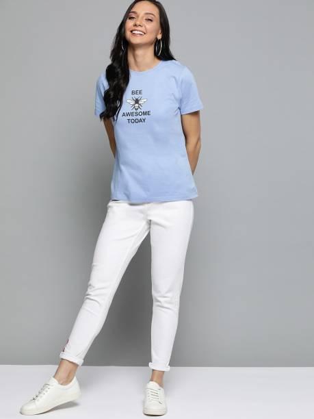 MAST & HARBOUR Printed Women Round Neck Blue T-Shirt