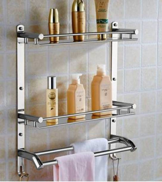 Frap Stainless Steel Multi-use Rack / Bathroom Shelf / Kitchen Shelf / Bathroom Stand / Bathroom Rod / Bathroom Accessories Stainless Steel Wall Shelf (Number of Shelves - 2, Silver) Silver Towel Holder Silver Towel Holder