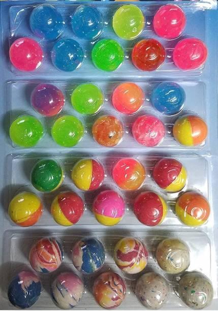 ReneReit Bouncy Jumping Gift for Kid Children Boys MultiColour Set of 36 pack of 1 Crazy Ball