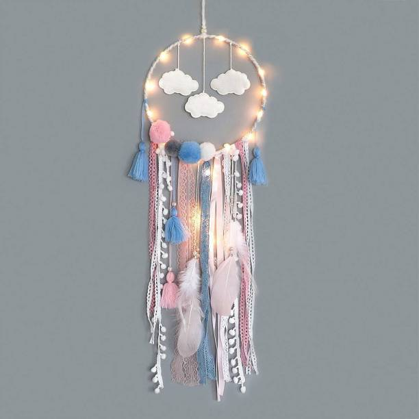 Grab Classy Dream catcher with lights White Wool Dream Catcher
