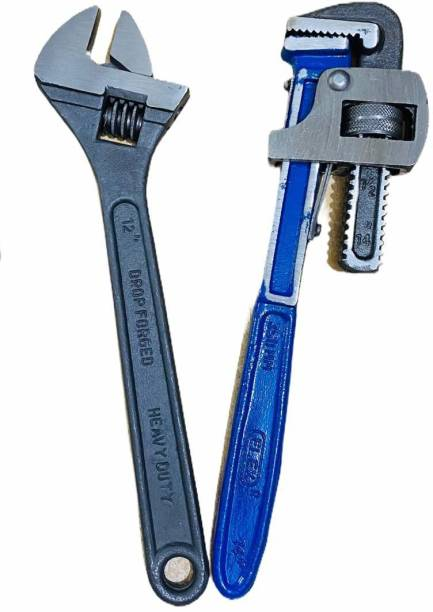 manvi Plumber Tool Combo 14inch Pipe Wrench & 12inch Adjustable Wrench Plumber Tool Combo Single Sided Pipe Wrench