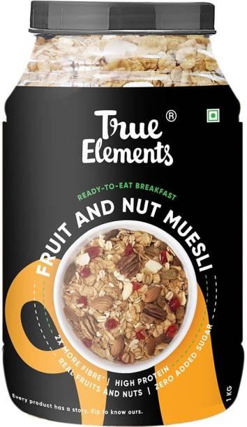 True Elements Fruit and Nut Muesli, Zero Added Sugar, Ready to Eat Breakfast, High Protein