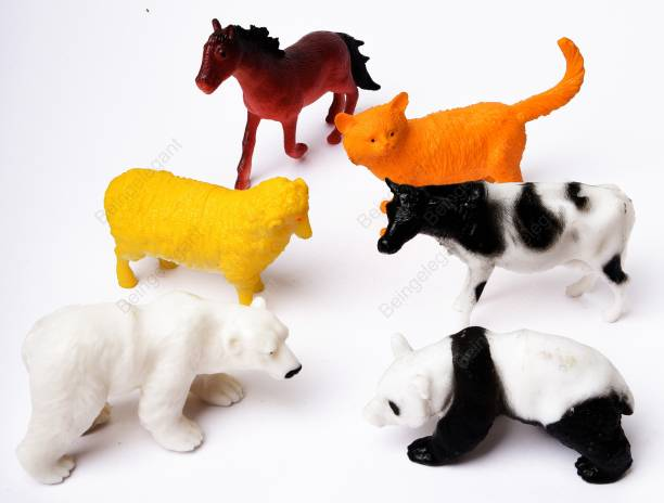beingelegant 6 Pcs Farm Medium Size Animals Figure Mix Children Puzzle Early Education Home Gift Mini Jungle Toy Set Realistic for Kids Toddlers Bath Toy Animal Play for Kids (Mix-Animal)…