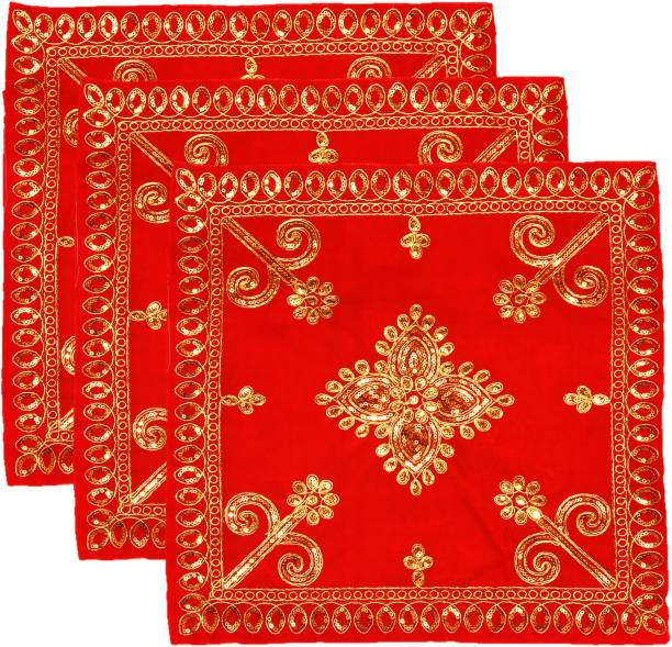 """Bhakti Lehar Embroidered Velvet Red Cloth for Puja / Pooja Aasan Kapda / Chawki Altar Puja Cloth for Mandir, Temple and Other Puja Rituals ( Size: 15"""" x 15"""" Inches ) Altar Cloth"""