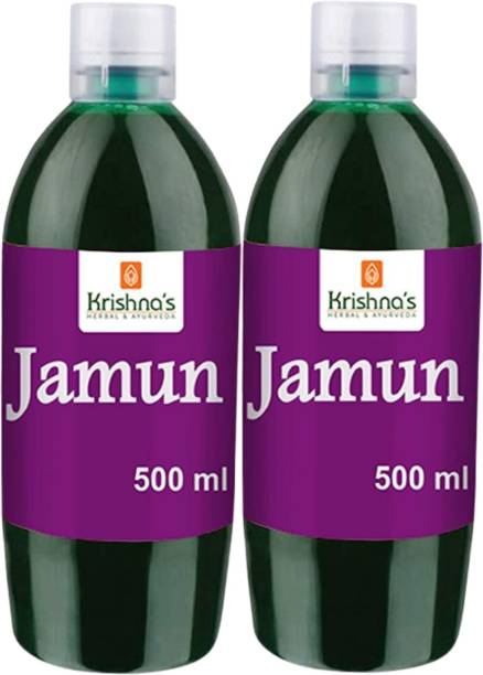 Krishna's Herbal & Ayurveda Jamun Juice | Natural Juice Made From 100% Fresh Jamun | Diabetes Care and Sugar Control Jamun Juice | Ayurvedic and Herbal Juice for Digestion | Immunity Booster | Pack of 2 | 500ml Each