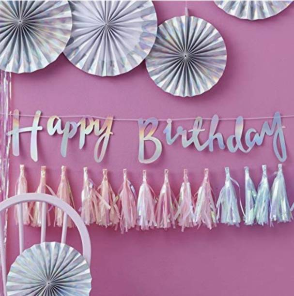 Acril Happy Birthday Banner Silver/Birthday Banner Banner