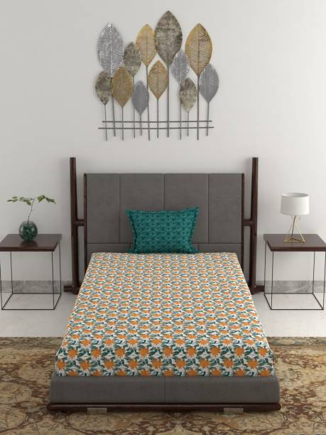 TRIDENT 120 TC Cotton Single Abstract Bedsheet