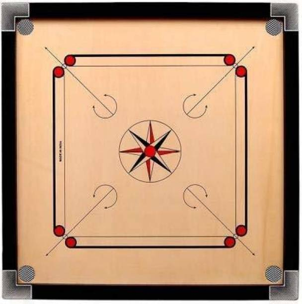 YMD Matte Finish large Carrom Board with wooden Coins Striker (32 x 32 Inch) 80 cm Carrom Board