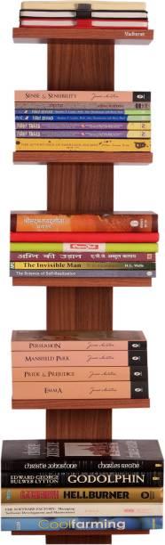 Madhuran Madhuran Baton Decorative Wall Mounted Book Shelf Bookcase Space Saving Books Holder Stand Set of 5 Classic Walnut/Wooden Shelves Rack Display Home Decor Engineered Wood Open Book Shelf