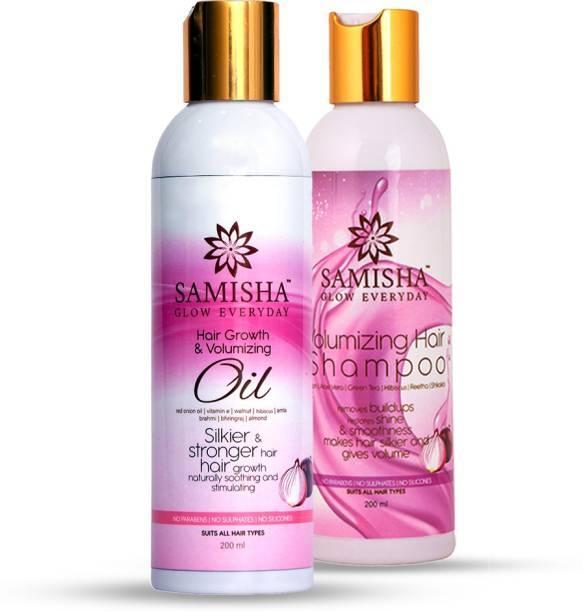 Samisha Organic Red Onion Volumizing Shampoo Shampoo and Hair Oil Combo Pack, 400ml