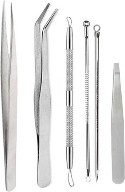 MGP Fashion Stainless steel Multipurpose professional premium quality face tools eyes Tweezer (plucker) for False Lash, Eyelash Extensions Nail art Beauty, Blackhead Acne Removal Needle Kit Cleaning Tool Blemish Pimple Come done.