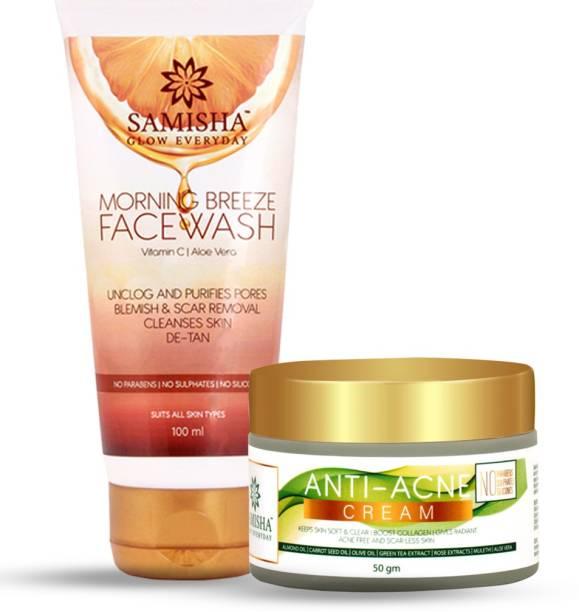 Samisha Organic Morning Breeze Vitamin C Facewash and Anti Acne Cream Combo Pack, 150ml