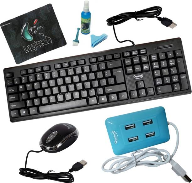 QUANTUM QHM 7406 WIRED KEYBOARD + QHM 222 WIRED MOUSE + QHM 6633 BLUE 4 PORT USB HUB WITH CLEANING KIT AND MOUSE PAD Combo Set
