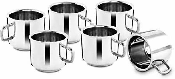 aashita shoppe Pack of 6 Stainless Steel dining table cup set double wall ,tea and coffee cup ( pack of 6)