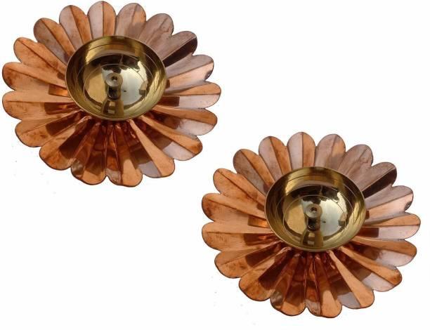 Collectible India Brass Lotus Shape Kamal Diya Oil Lamp Brass (Pack of 2) Table Diya Set