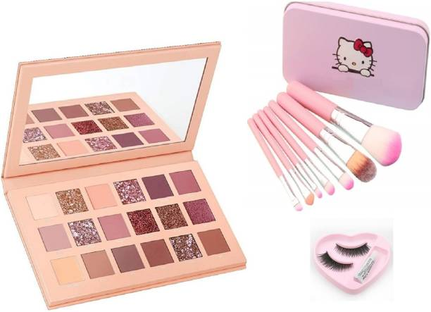 Insta Beauty Glam ColorIcon Nude EyeShadow with Makeup Brushes & Eyelashes with Glue 18 g