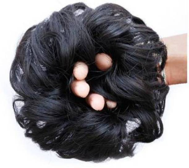 BLIUSHIA Synthetic Bun Extension And Wigs Artificial Juda For Women And Girls, 35 Gram, Natural Black Hair Extension