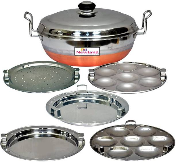 NEWLAND kitchenware All-in-One Stainless Steel Idli Cooker Multi Kadai Steamer with Copper Bottom, Big Size with 5 Plates 2 Idli; 2 Dhokla; 1 Patra Plate Induction & Standard Idli Maker (5 Plates , 14 Idlis ) Induction & Standard Idli Maker