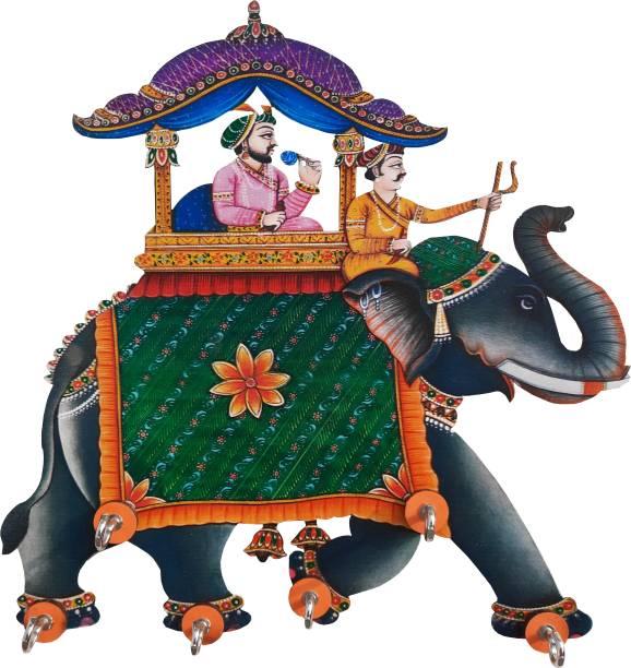 Shiva Arts Ambawari Elephant design key holder Wood Key Holder
