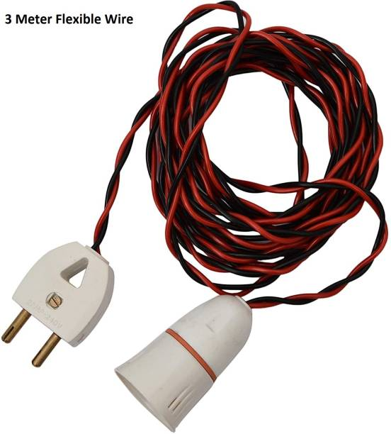 JElectricals Hanging Bulb Holder with 2 Pin Plug and 3 Metre Wire Plastic Light Socket