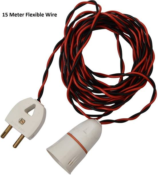 JElectricals Bulb Holder with 15 Metre Flexible Wire and Attached 2 Pin Plug Plastic Light Socket