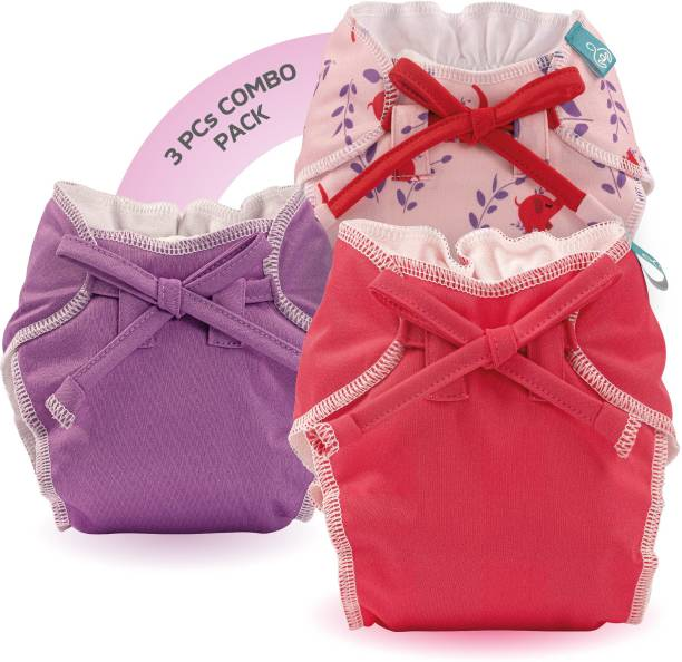 bumberry Baby Smart Nappy Leak Proof Reusable & Adjustable Cloth Diaper For Newborn (0-6Months, Rose Pink, Violet, Baby Elephant)