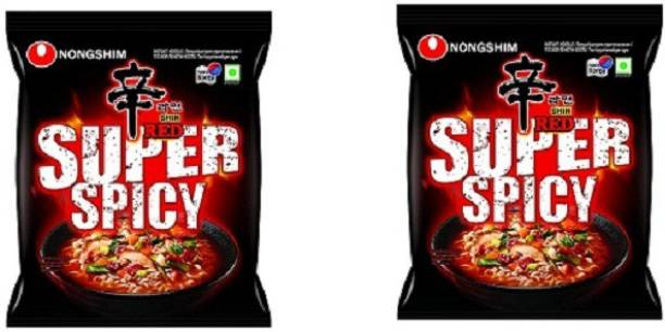 Nongshim Red Super Spicy Koreans Instsnt Noodles (2X120g) ( Combo Pack) (Pack Of 2) Instant Noodles Non-vegetarian