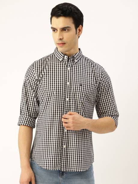 United Colors of Benetton Men Checkered Casual Black Shirt