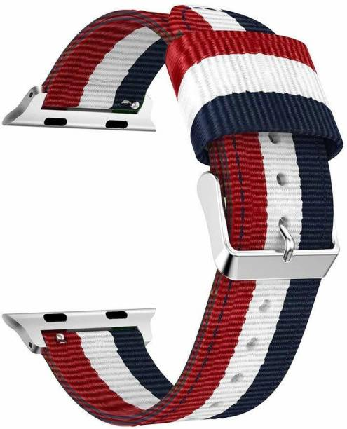 Tingtong Woven Nylon Loop 42mm/44mm Band with Adjustable Closure Wrist Red and White and Blue Smart Watch Strap