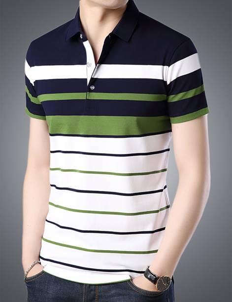 Seven Rocks Striped Men Polo Neck White T-Shirt