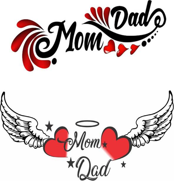 voorkoms Mom Dad with Heart Wings Combo Tattoo Waterproof Men and Women Temporary Body Tattoo