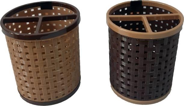 Misthi kitchenware 2 Pieces Plastic Multipurpose Storage Basket For Bathroom, Kitchen, Office Plastic Toothbrush Holder