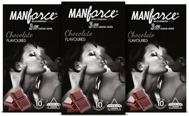 MANFORCE Wild 3 in 1s, Chocolate Flavoured Condom