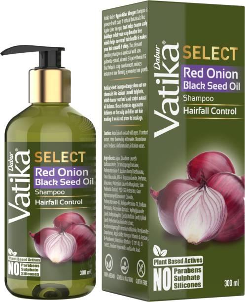 Dabur Vatika Select Red Onion Black Seed Oil Shampoo|Hairfall Control|No Parabens, Sulphate & Silicones