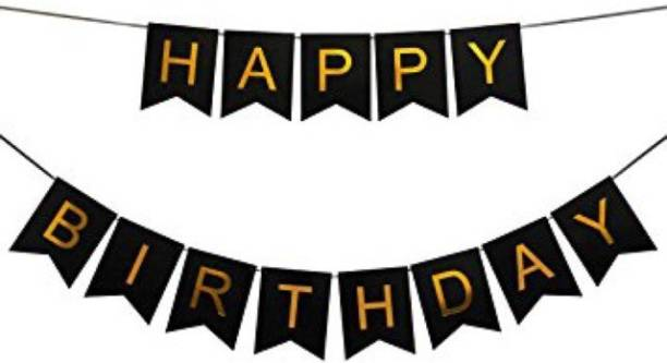 Rhythm Happy Birthday Card BLACK Board Banner for Birthday Celebration of Kids and Adults FOR PARTY DECORATION BIRTHDAY DECORATION Banner
